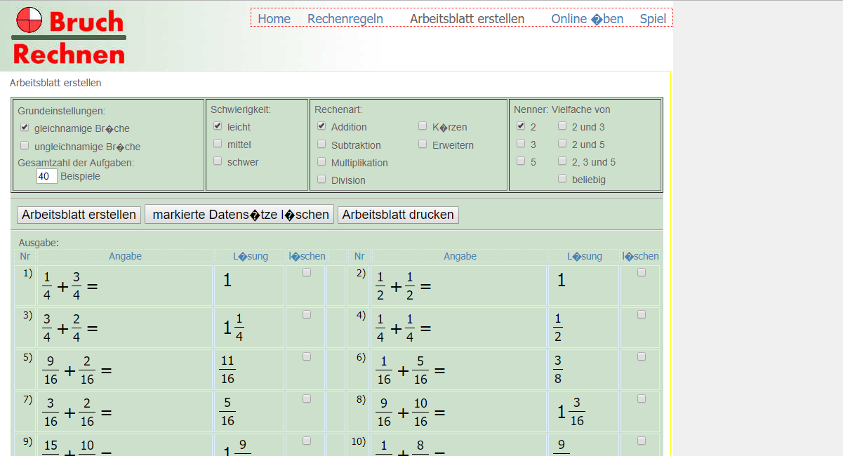 Mathematik Linkliste